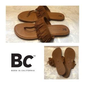 Never Worn — BC Tan Suede Fringe Sandals